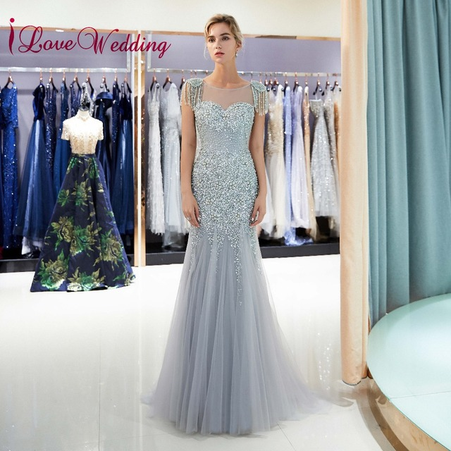4e1b51bd00739 US $161.1 10% OFF|iLoveWedding Most Beautiful 2018 Heavy Beadings Silver  Tulle Custom made Mermaid Sheer Back Sexy Long Evening Gowns Abiye-in  Evening ...