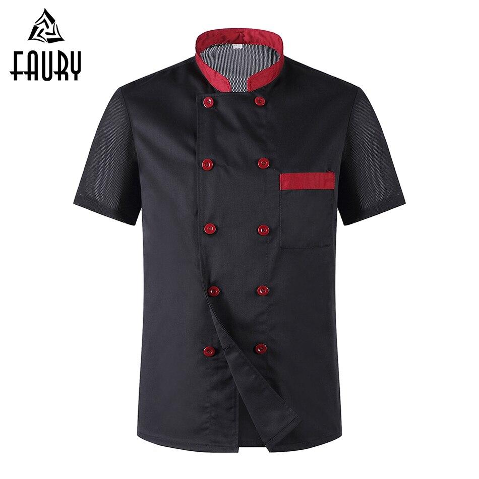 Wholesale Women Men Short Sleeve Breathable Mesh Patchwork Chef Cookwear Jacket Bakery Cuisine Workwear Top Kitchen Work Uniform