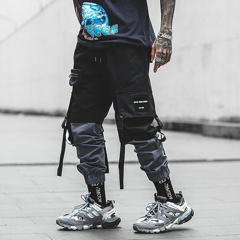 Pachwork Cotton Cargo Pants 2020 Streetwear Hip Hop Ribbons Joggers Pants Men Japanese Style Black Casual Track Pants Fashions
