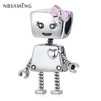 2018 925 Sterling Silber Bead Nette Roboter Mädchen Bella Bot Charme Anhänger Charms Fit Pandora Armband Frauen Diy Schmuck-in Perlen aus Schmuck und Accessoires bei