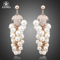 Pearl Grapes 18K Rose Gold Plated SWA ELEMENTS Austrian Crystal CHAMPAGNE GOLD Drop Earrings FREE SHIPPING