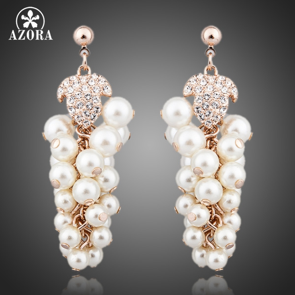 AZORA Pearl Grapes Rose Gold Color Stellux Austrian Crystal CHAMPAGNE GOLD Drop Earrings TE0061 честертон г детективные расследования отца брауна best investigations of father brown cd