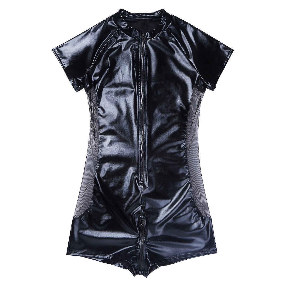 ANNJOLI S-3XL Men Cosplay PU Body Stocking Adult Sleepwear One Piece Pyjamas Male Jumpsuits Pacthwork Mesh Gay Jumpsuit
