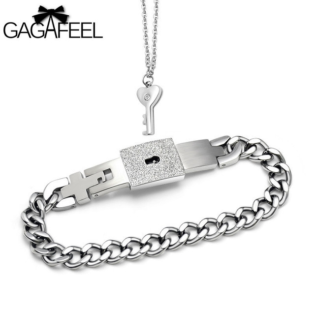 e1308bf94e1 US $6.08 40% OFF|GAGAFEEL Concentric Lock Jewelry Set Stainless Steel Man  Bracelet Bangle Women Necklace Key Clasp For Lover Free Dropshipping -in ...