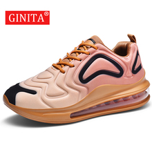 Ginita 남자 에어 쿠션 패션 스니커즈 남자 캐주얼 신발 큰 사이즈 46 야외 운동화 남성 스포츠 신발 운동화 남자