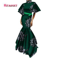 New Vintage African Dresses for Women Puff Sleeve Mermaid Ruffles Long Dress Plus Size African Print Dress Women Clothing WY2542