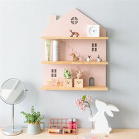 Nordic ins wall shelf children's room cute decorative wooden bedroom cosmetics storage wall hanging house shape home wall shelf