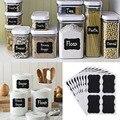36 x placa Preta Fantasia Cozinha Jam Jar Etiqueta etiquetas autocolantes. 5 cm x 3.5 cm quadro