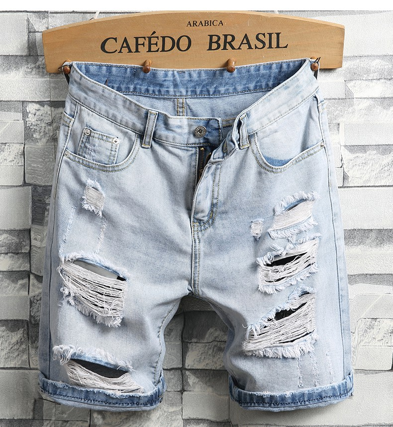 Men Light Blue Denim Shorts Holes Short Jeans High Quality Men Straight Casual Jean Shorts Knee Length Denim Shorts