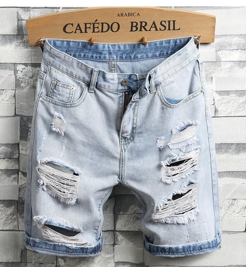 Men Light Blue Denim Shorts Holes Short Jeans High Quality Men Straight Casual Jean Shorts Knee Length Denim Shorts
