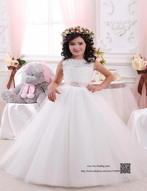 a3c58ffb162b Cute Lace White Flower Girl Dress for Weddings Pageant Ball Gowns ...