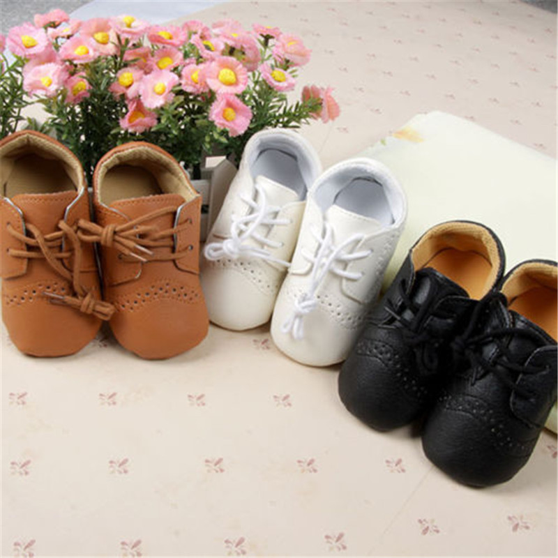 Baby PU Leather Lace Shoes Newborn Boys Girls Anti-Slip Casual Shoes 0-12M Pure Color