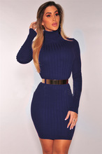 2018 Spring Women Dresses Vintage Long Sleeve Silm Knitted Turtleneck Pencil Dresses S,M,L,XL,XXL,XXXL