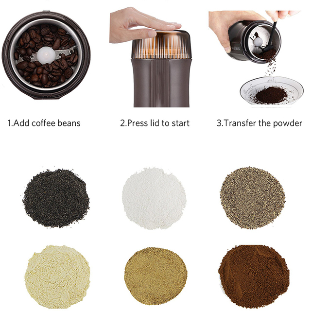 Coffee Grinder Electric Nut & Spice Grinder With Stainless Steel Blade for Seed Bean Pepper Grinder, Cleaning Brush Included 3