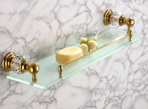 Comprar Cristal y latón plateado de oro estante de cristal con cristal incorporado pared de un solo nivel baño estante CY012 de shelves wheels fiable proveedores en Ferond Ferond sanitary ware factory Store