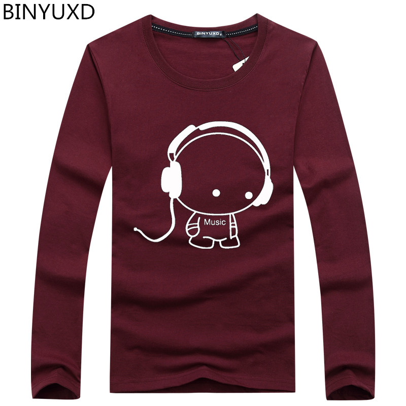 BINYUXD Brand Hot Sale Fashion Men Long Sleeve T-Shirt Casual Rock Headset Earphone Dogs Music Printing Tops Cool O-neck