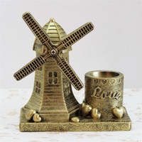 2017 Vintage Resin Gold Windmill Imitation Pen Container Resin Pencil case Home Table Decoration Accessories miniature