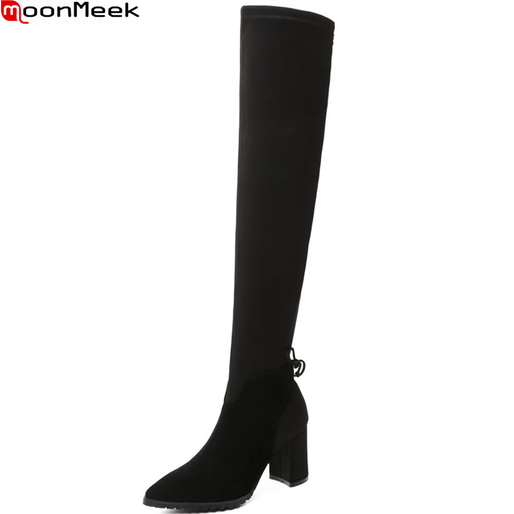 MoonMeek black 2018 new arrive women boots pointed toe zipper kid suede ladies boots square heel leather over the knee boots fanyuan 2017 hot sale spring autumn new arrive women boots fashion faux suede pointed toe zipper solid color over the knee boots