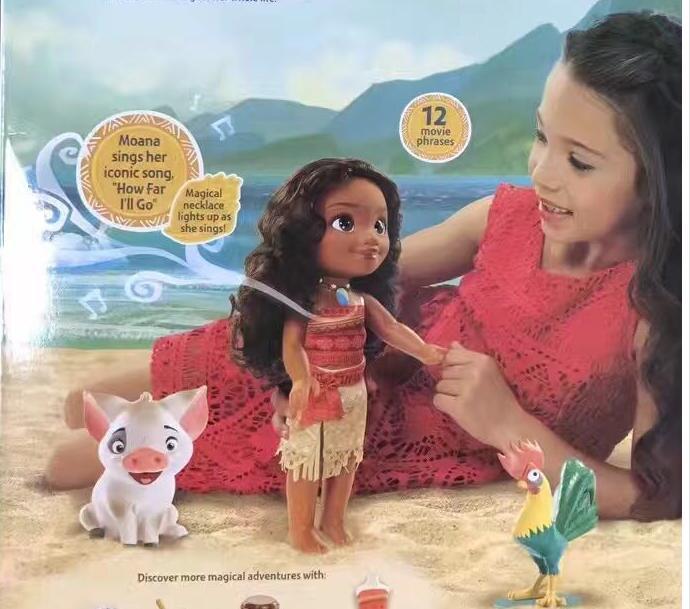 38CM Cartoon moana Music Talks Sing How Far I'll Go Luminescence Friends PUA HEI HEI pig PVC Toys Soft Stuffed Dolls