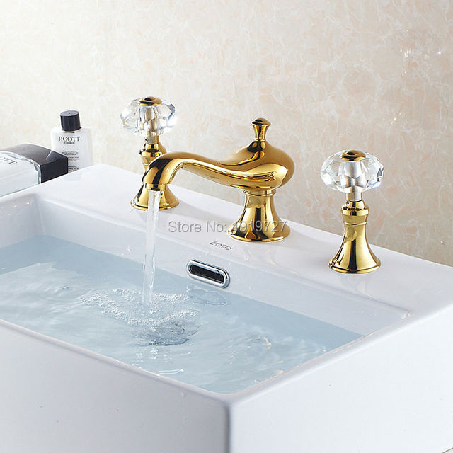 High Quality Golden Br 2 Handle Crystal Widespread Three Holes 3 Piece Bathroom Faucet Deck