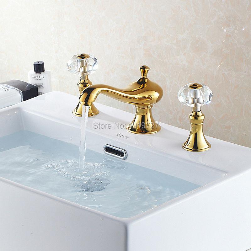 High Quality Golden Brass 2 Handle Crystal Knob Widespread Three Holes 3 Piece Bathroom Faucet Deck Mount Vanity Mixer Sink Tap