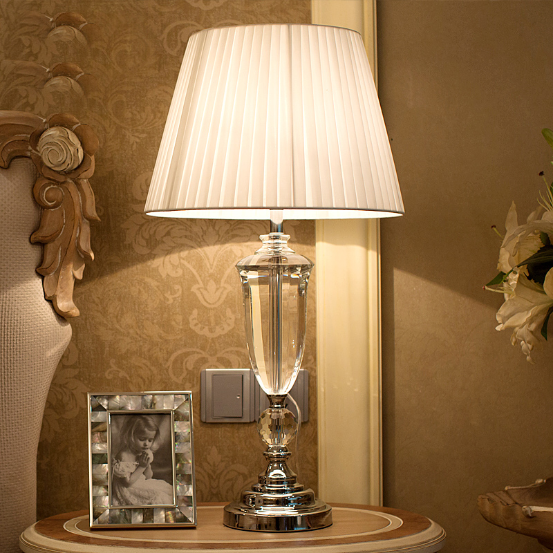 Luxary Classic American Bedroom Table Light Foyer European Crystal Table  Lamp Glass Tall Table Light Bedside Hotel Table Lamp In Table Lamps From  Lights ...