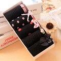 5pcs/lot Women Underwear Panties Girls Cute Soft Cotton Bow Briefs Black Color Sets Women Underpants Gift Box Packing HS12
