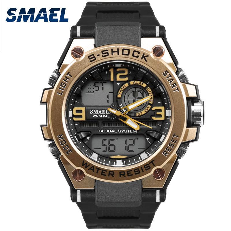 SMAEL Luxuly Men's Wrist Watch Gold Digital Watch Man Waterproof 50m LED Clock Man 1603 Digital Watch Man Sport Watch Shock