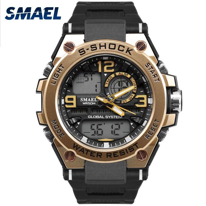 SMAEL Luxuly de la muñeca de los hombres, reloj de oro, reloj Digital de hombre impermeable 50 m LED reloj hombre 1603 Digital Reloj hombre deporte reloj Shock