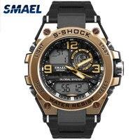 SMAEL Luxuly Relógio Digital de Relógio De Pulso de Ouro dos homens do Homem À Prova D' Água 50 m Man 1603 Homem do Relógio Digital de LED Relógio Relógio Do Esporte choque
