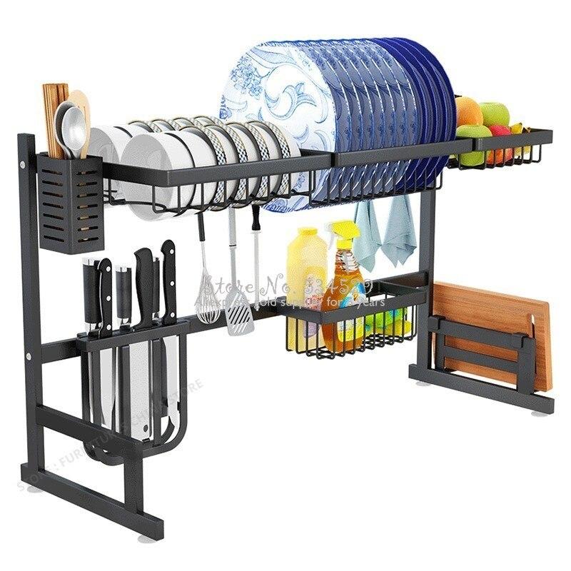 Alta qualidade organizador da cozinha pratos titular rack de drenagem cozinha pia esponja organizador rack forte rolamento prato secagem rack
