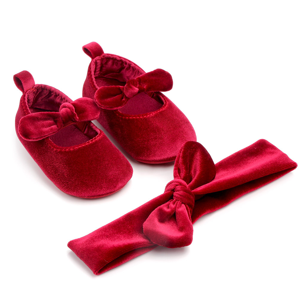 2pcs Handmade Cotton Velvet Girls Shoes Head Fower Hair Band Baby Shoes Soft Bottom Non-slip Toddler Shoes Baby PrincessShoes
