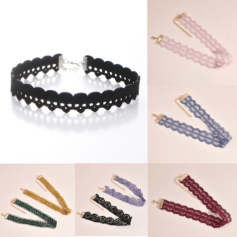 Sale 1PC Accessories Gothic style Multicolor Lace Necklace Lolita color Net Yarn Simple Fashion Jewelry 10 Styles