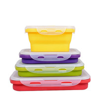 HOT 4Pcs 4 Sizes Silicone Collapsible Portable Lunch Boxs Bowl Bento Boxes Folding Food Storage Container
