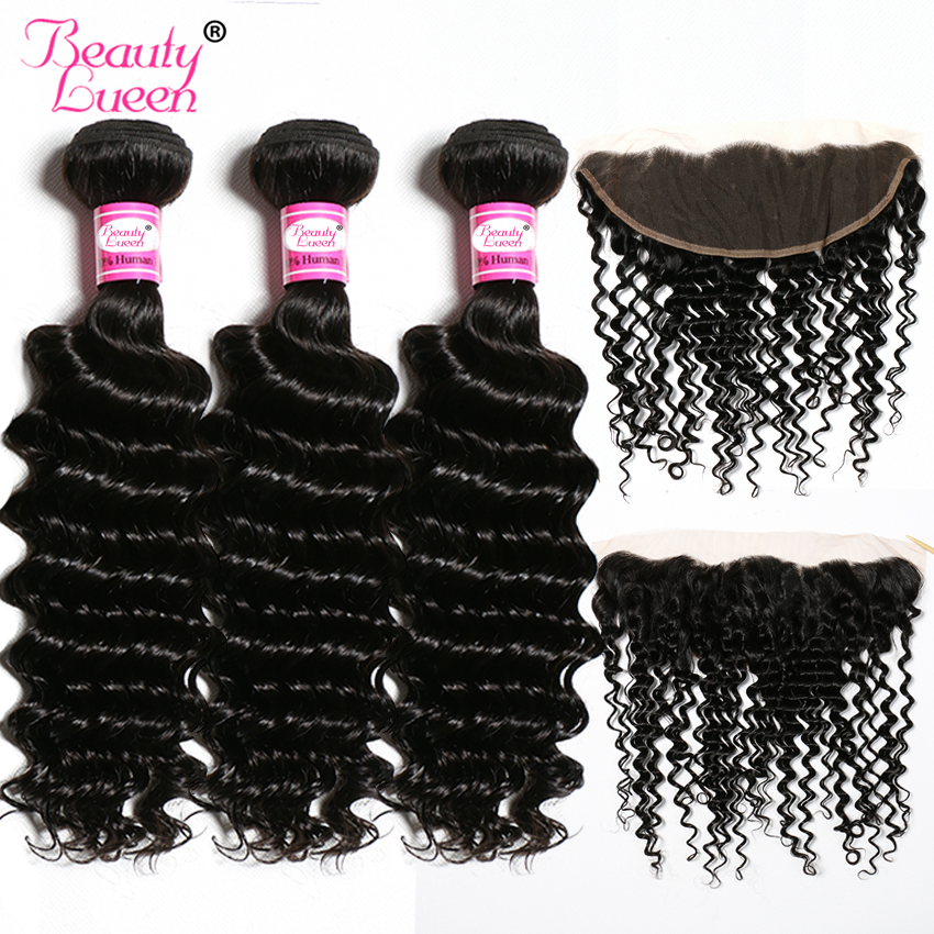 Brazilian Hair Weave Deep Wave Bundles With Closure Human Hair 3 Bundles With Lace Frontal Closure