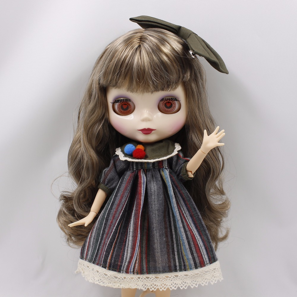Neo Blythe Doll Stripe Printed Dress With Bowknot 6