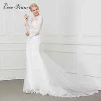 C V Sheer Boat Neck Hollow Back Elegant Mermaid Wedding Dress With Lace Embroidery Appliques Beading