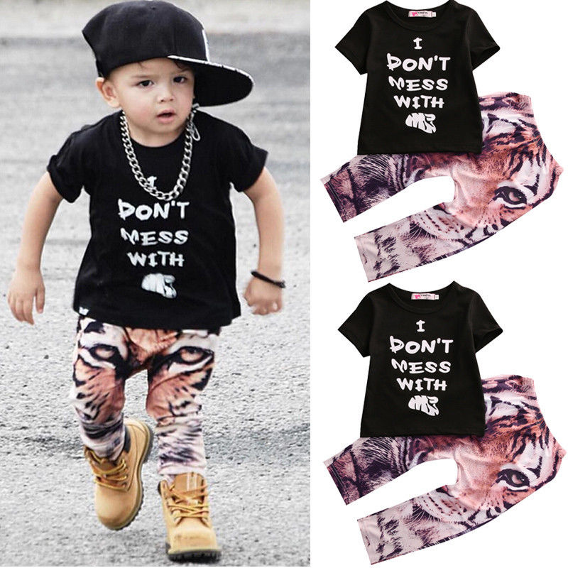 Summer Boys Clothes 2016 New Baby Boy Clothing Set Pattern Tiger