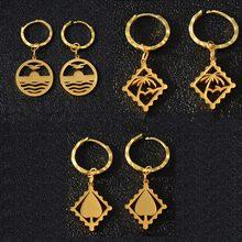 eb1325f61502 Anniyo Kiribati Corazón árbol de coco pendientes para las mujeres chica de  oro de acero inoxidable de Color Micronesia joyería r.