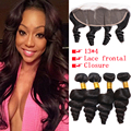 7A Halo Hair 4 Bundles Brazilian Loose Wave Human Hair Weaves With Loose Deep Lace Frontal Closure (13x4) Lace Frontal