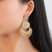 Vintage Ethnic Indian Earrings For Women Boho Hollow Crescent Carved Flower Round Tassel Drop Earrings kolczyki brincos WD321