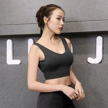 European American Style Deep V Sports Camisole Crop Top Women Sleeveless Breast Shockproof Vest Camiseta Tirantes Mujer
