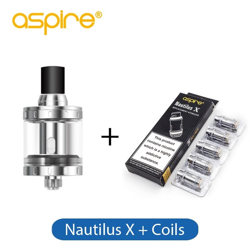 E-cig Atomizer Aspire Nautilus X Atomizer Tank 2ml E-liquid Capacity Nautilus-X Tank with 5 pcs 1.8ohm Nautilus X Coils x e