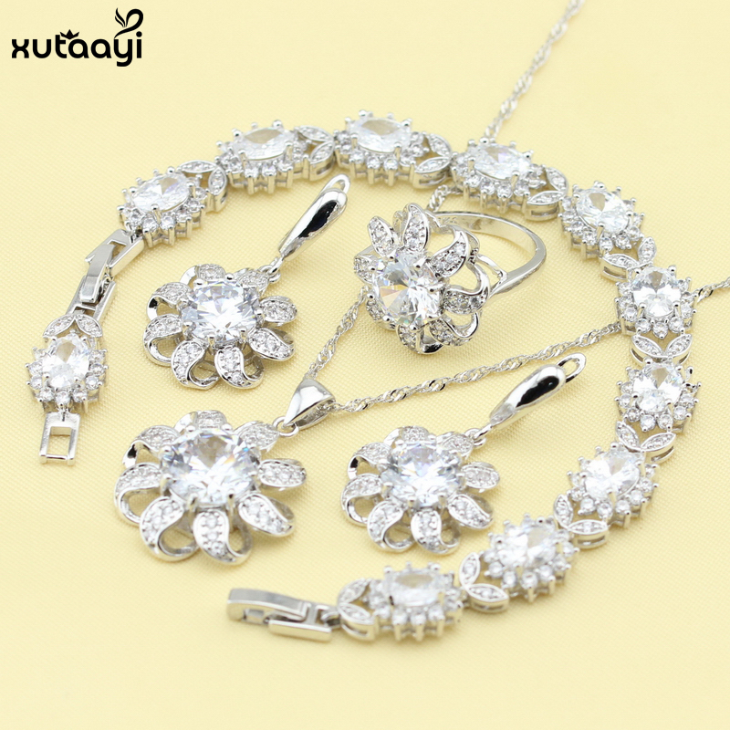 XUTAAYI Fashion White Cubic Zirconia Sterling Silver Overlay Jewelry Sets For women Classy Necklace/Rings/Earrings/Bracelet