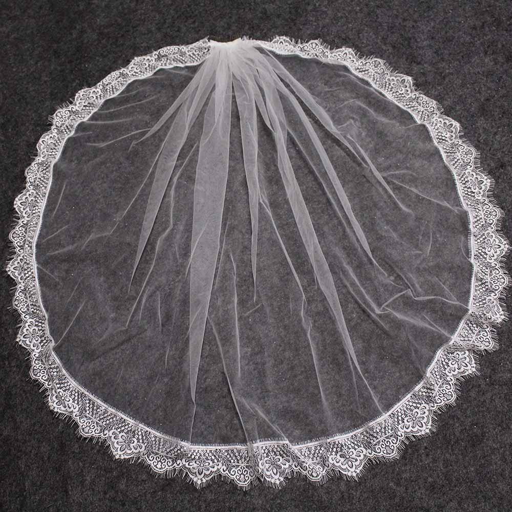 Beautiful Eyelash Lace Short Wedding Veil Soft Bridal Veil With Comb One Layer White Ivory Veil Voile Mariage