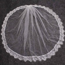 Beautiful Eyelash Lace Short Wedding Veil Soft Bridal with Comb One Layer White Ivory Voile Mariage