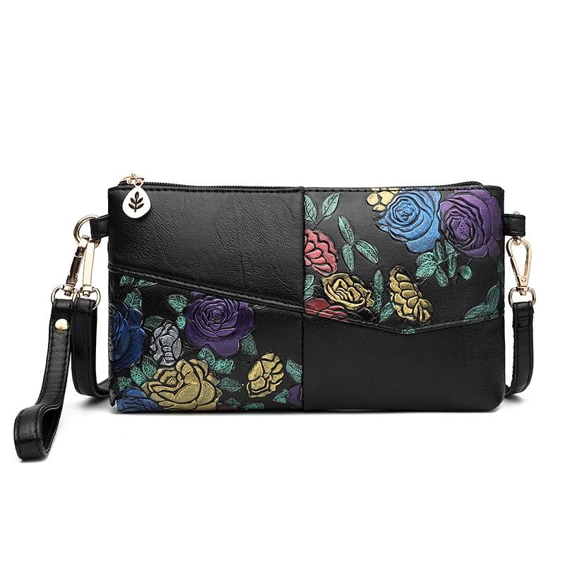 2019 Women Bag Female Shoulder Bag Flower Floral Crossbody Leather Zipper Pocket Messenger Handbags Mini Femme Designer Vintag 1