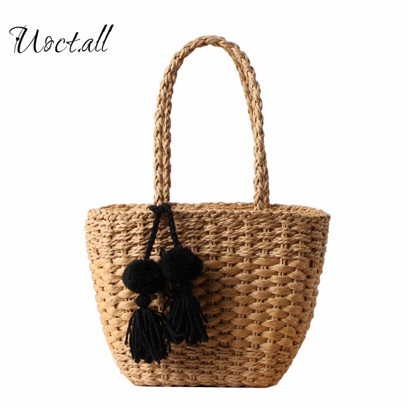Large Beach Bags Tassels Handmade Weave Straw Handbags Summer Boho Shoulder Bags Women Straw Shopping Tote handmade flower appliques straw woven bulk bags trendy summer styles beach travel tote bags women beatiful handbags
