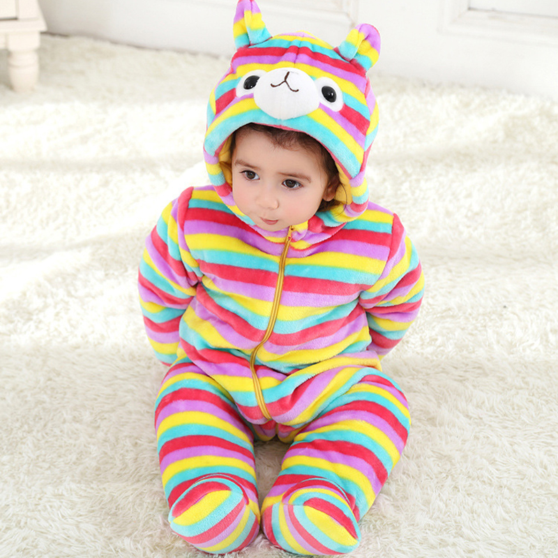 Christmas Thick Cotton Baby Jumpsuit Romper Striped Cartoon Alpaca Baby Boy Girl Clothes Infant Hooded Onesie for 0-3 Y Toddler wrap front striped palazzo jumpsuit