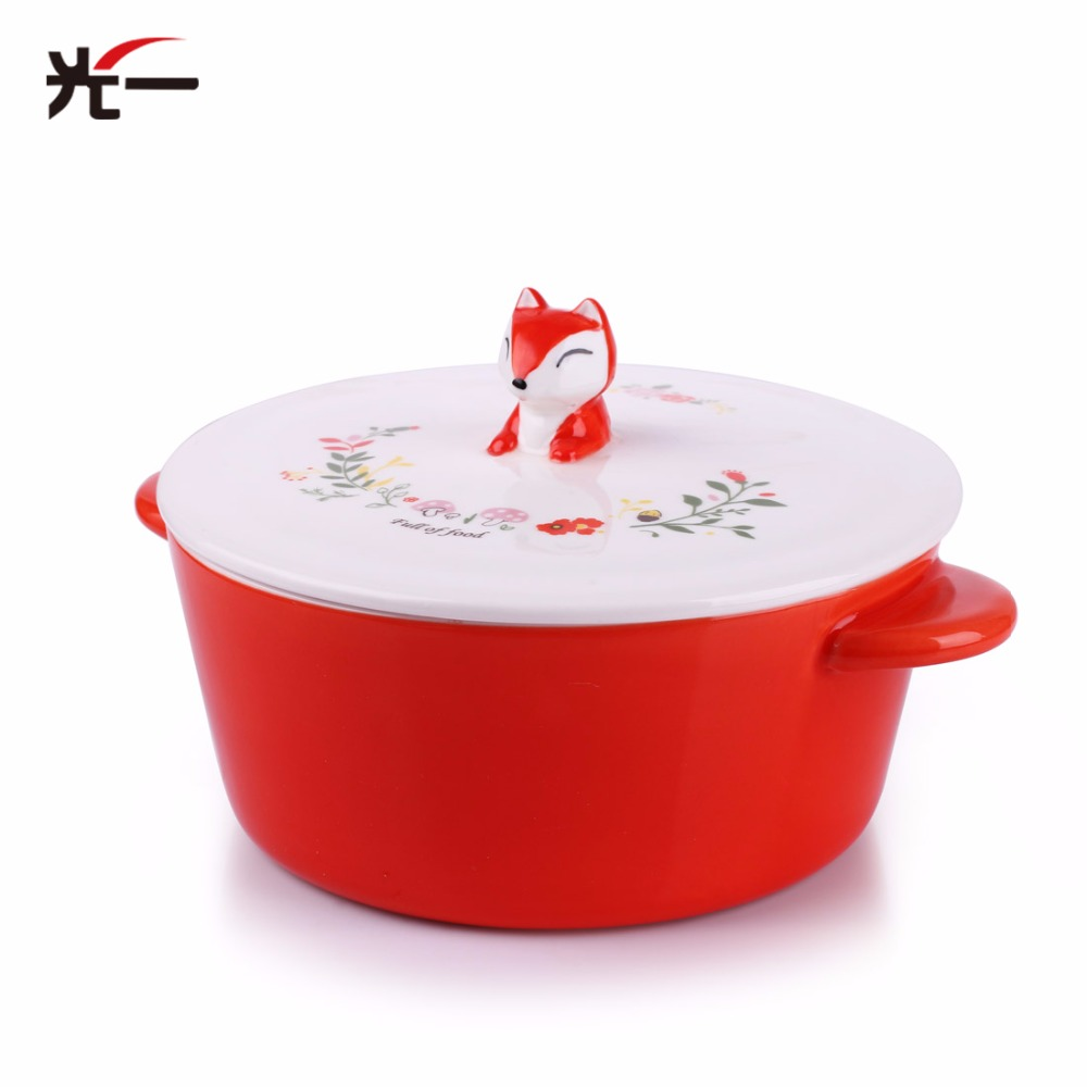 650ML Children Ceramic Feeding Bowl Fox Cartoon Noodles Bowl Baby Tableware BPA Free Kid rice Bowl Feeding Dinner Set